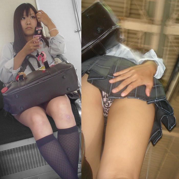 【画像】女子高生の逆さ盗撮エロすぎwww