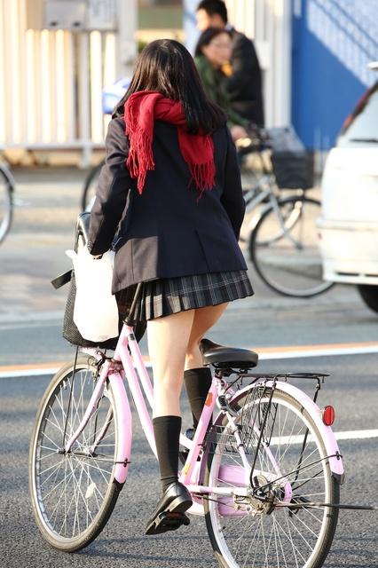 【画像】自転車に乗った女子高生ってエッチだなぁ