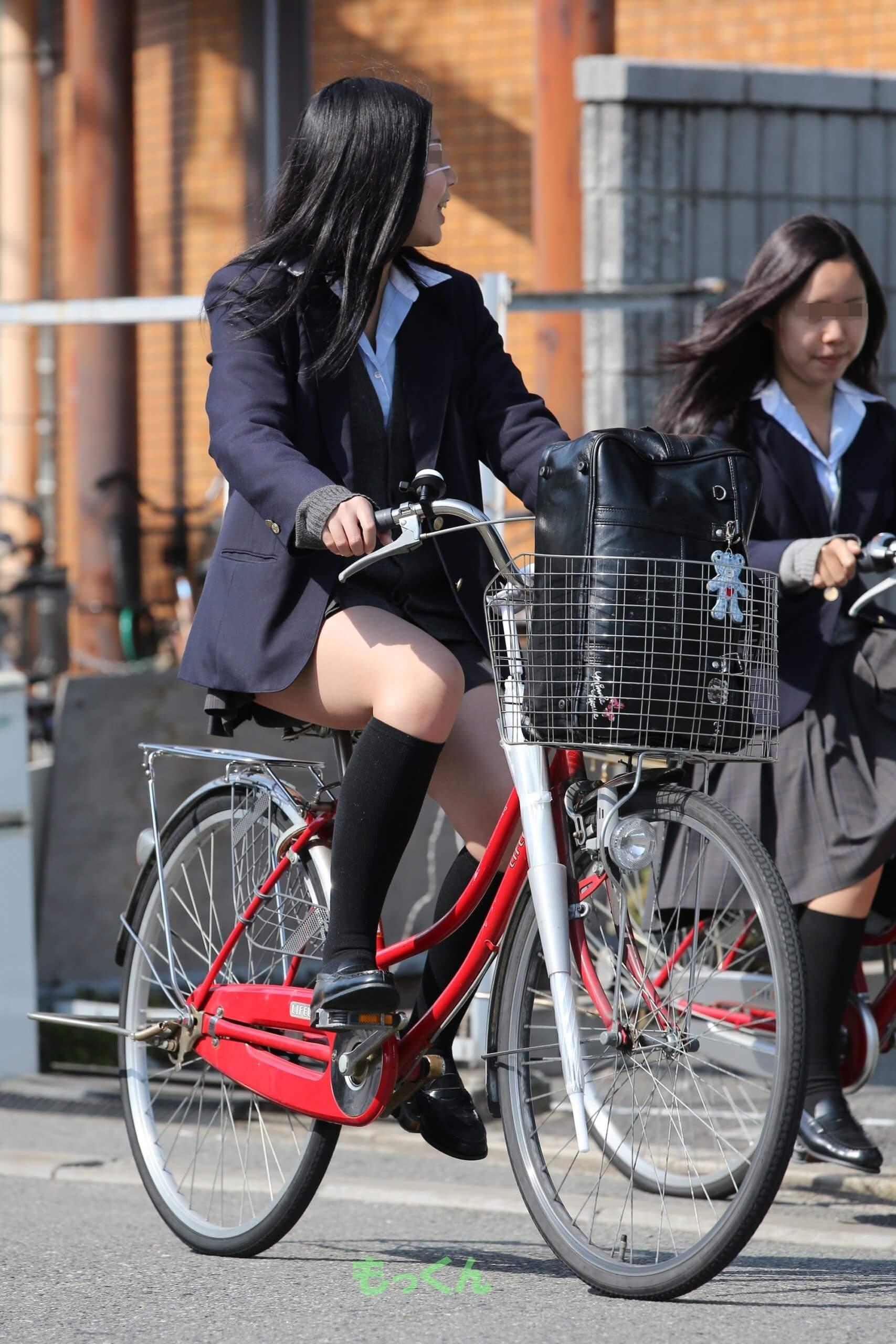 【画像】自転車JKのヒラヒラスカートからふとももチラ見えに興奮抑えられるやつおる?