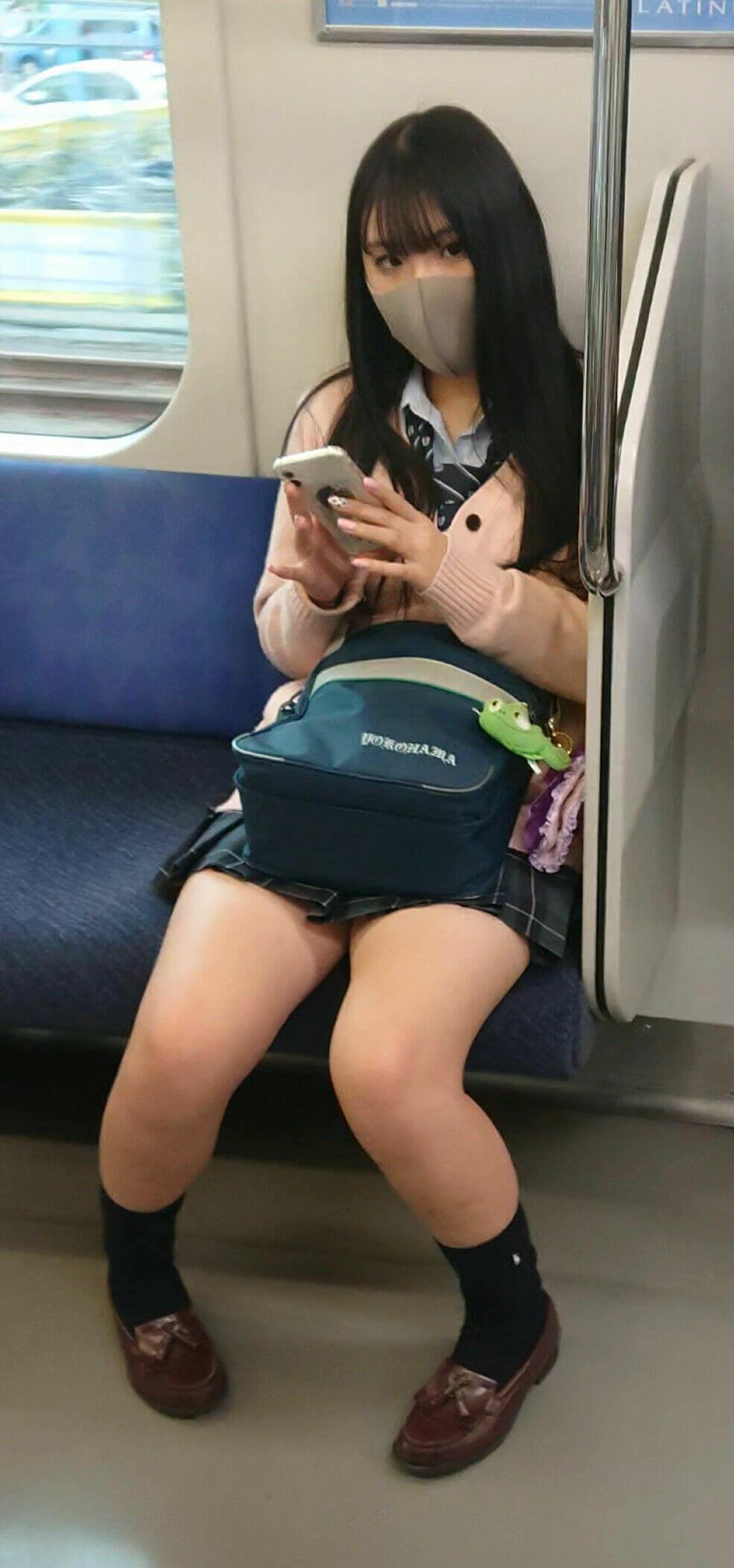 【画像】間違いを犯してしまいそうになる電車内女子高生の写真